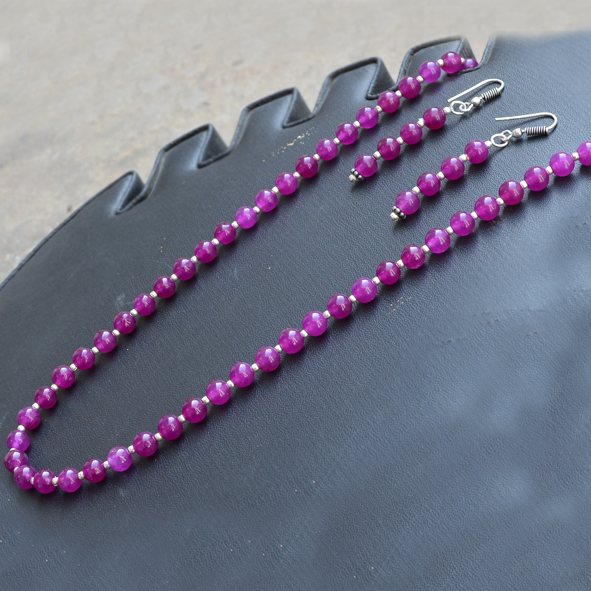 Beaded Purple Quartz Jaipur Rajasthan India 925 Sterling Silver Necklace With Handmade Jewelry Manufacturer Dangle Earring