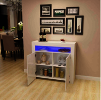Kitchen Buffet Cabinet,High Gloss LED Sideboard,Storage Server Table with 3 Shelves White