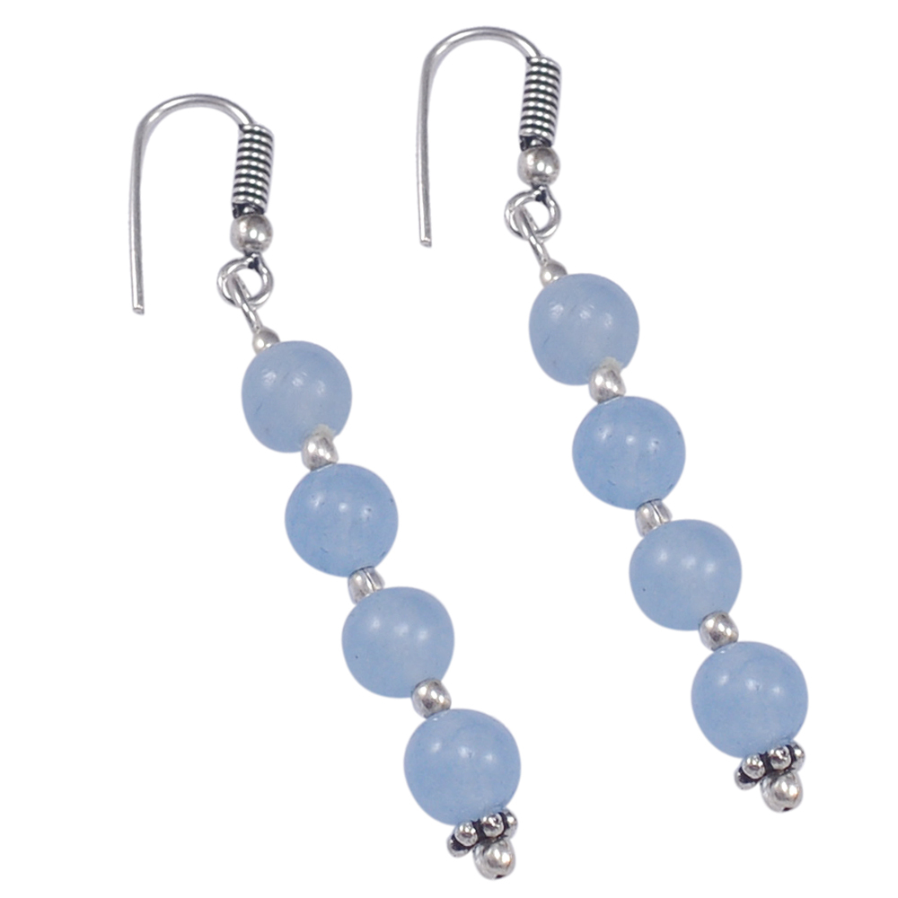 6mm Beaded Handmade Jewelry Manufacturer Light Blue Quartz 925 Sterling Silver Single Strand Jaipur Rajasthan India Necklace Set