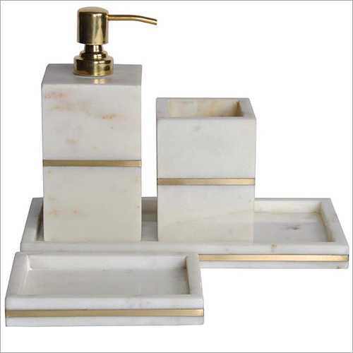 Marble Inlay Bath Set