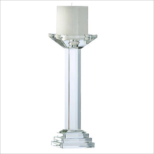 Crystal Glass Pillar Candle Holder