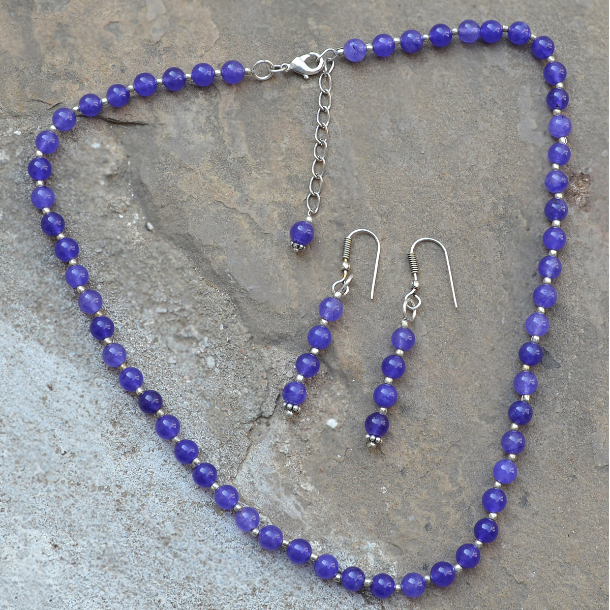 Handmade Jewelry Manufacturer Wire-Wrapped Earring, 925 Sterling Silver, 6mm Beaded Purple Quartz, Jaipur Rajasthan India Chain Necklace Set