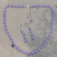 Round Beaded Handmade Jewelry Manufacturer Purple Quartz 925 Sterling Silver Rolo-Chain Jaipur Rajasthan India Necklace & Earring Set