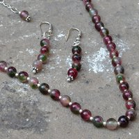 Wholesale- Handmade Jewelry Manufacturer Tourmaline Quartz Beaded Necklace with Earring Set, 925 Sterling Silver With Jaipur Rajasthan India Dangle Earring
