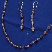 925 Sterling Silver - Handmade Jewelry Manufacturer Single Strand- Beads Tourmaline Quartz- Jaipur Rajasthan India Necklace & Earring Set