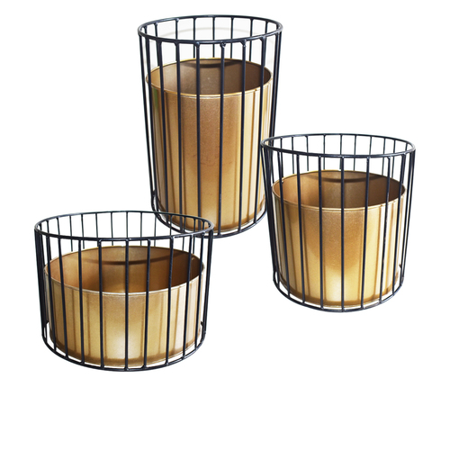 Metal wire based Planter stand with Metal pot- Set of 3