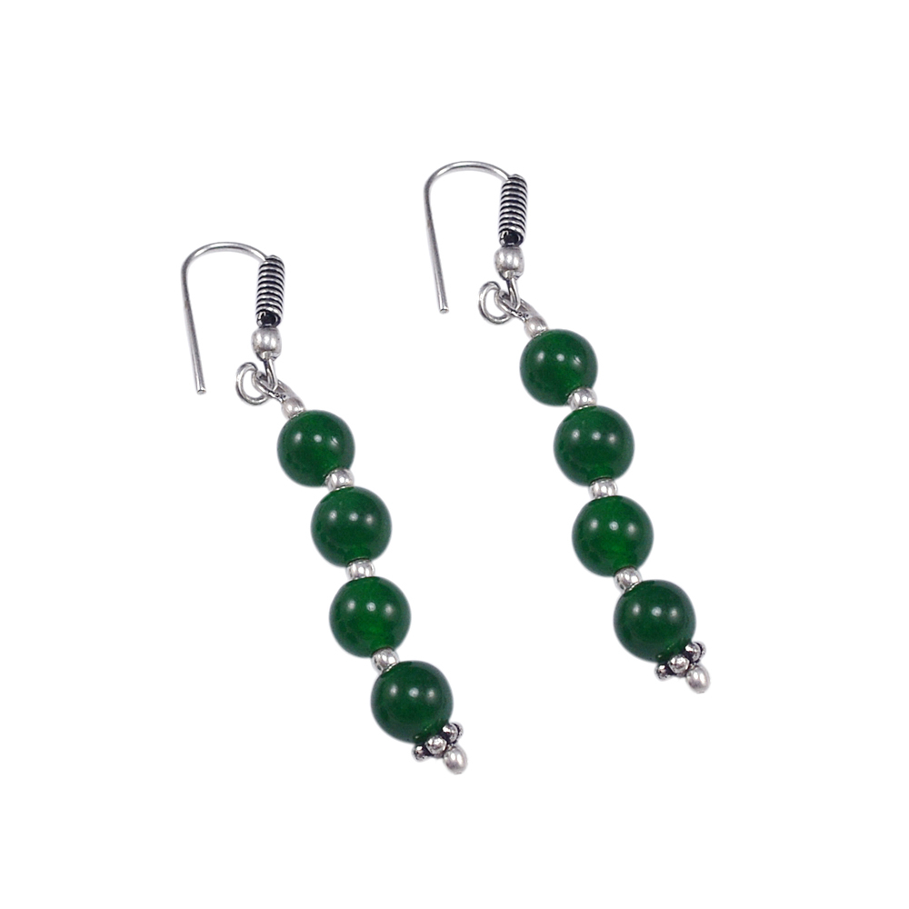 Lobster-Claw Hook Handmade Jewelry Manufacturer 925 Sterling Silver Beaded Green Quartz Jaipur Rajasthan India Necklace & Earring Set