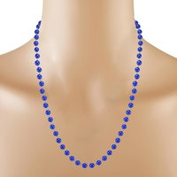 Handmade Jewelry Manufacturer 6mm Round Beaded Blue Quartz 925 Sterling Silver Rolo-Chain Jaipur Rajasthan India Necklace & Earring Set
