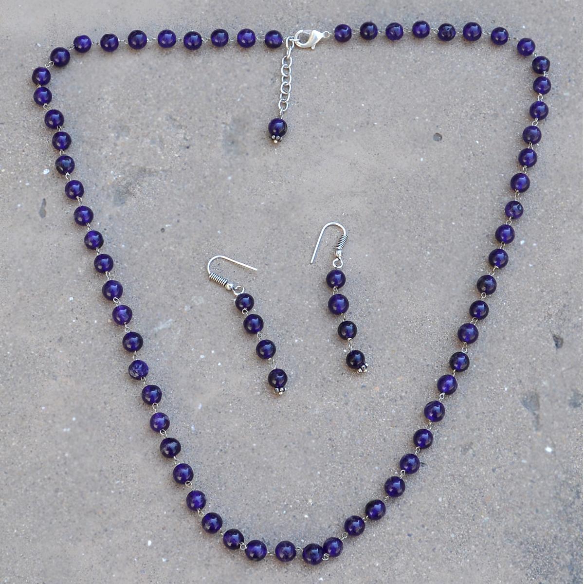 Stunning- Handmade Jewelry Manufacturer Beaded Purple Quartz- 925 Sterling Silver- Jaipur Rajasthan India Single Strand- Necklace Set
