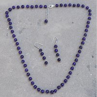 Stunning- Handmade Jewelry Manufacturer Beaded Purple Quartz- 925 Sterling Silver- Jaipur Rajasthan India Single Strand- Necklace Set
