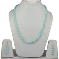Blue Amazonite Quartz- Handmade Jewelry Manufacturer 925 Sterling Silver- Rolo-Chain- Lobster-claw Jaipur Rajasthan India Necklace Set