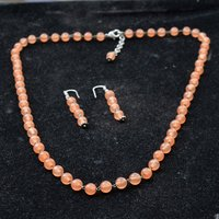 Round Beaded Handmade Jewelry Manufacturer Orange Quartz 925 Sterling Silver Layered Jaipur Rajasthan India Necklace & Earring Set