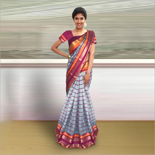 Ladies Check Saree