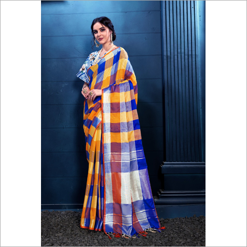 Ladies Cotton Check Saree