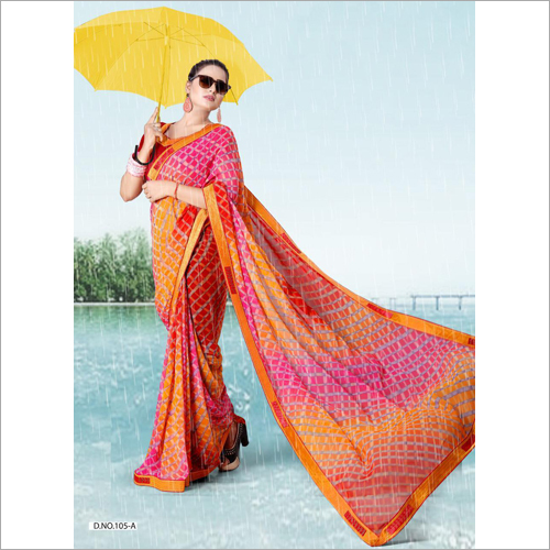Ladies Check Printed Saree