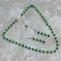 Round Beaded Handmade Jewelry Manufacturer Green Quartz Rolo-Chain 925 Sterling Silver Jaipur Rajasthan India Necklace & Earring Set