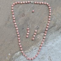 925 Sterling Silver Jaipur Rajasthan India Round Beaded Pink Quartz Handmade Jewelry Manufacturer Necklace With Dangle Earring