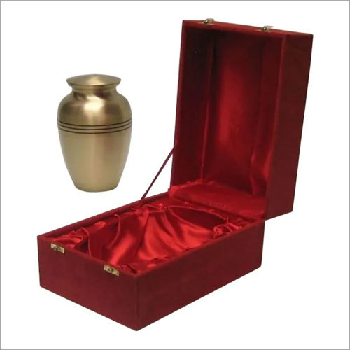 Plain Golden Brass Urn In Velvet Box