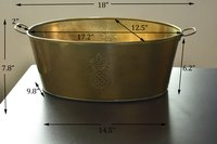 Gold Oval Shape Galvanized Metal Tub Planter with 2 Handles -(Set Of 3pcs)