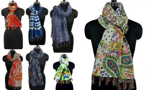 Printerd cotton kantha Scarves