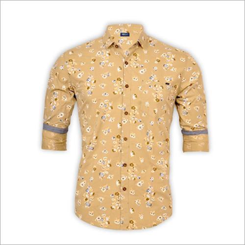 Mens Yellow Full Sleeve Shirt
