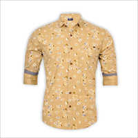 Mens Yellow Full Sleeve Shirt