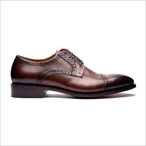 Dark Brown Cap Toe Derby Shoe