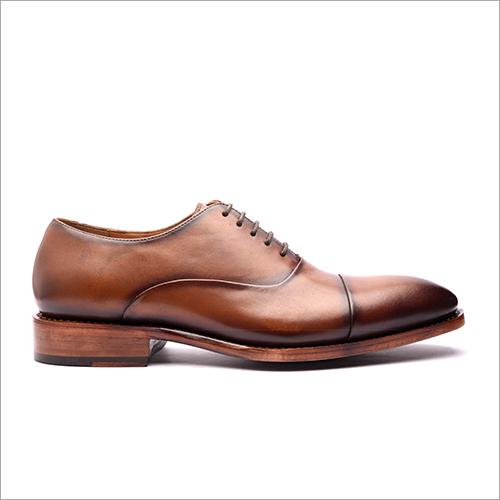 Light Brown Cap Toe Oxford Stitch And Turn Shoe