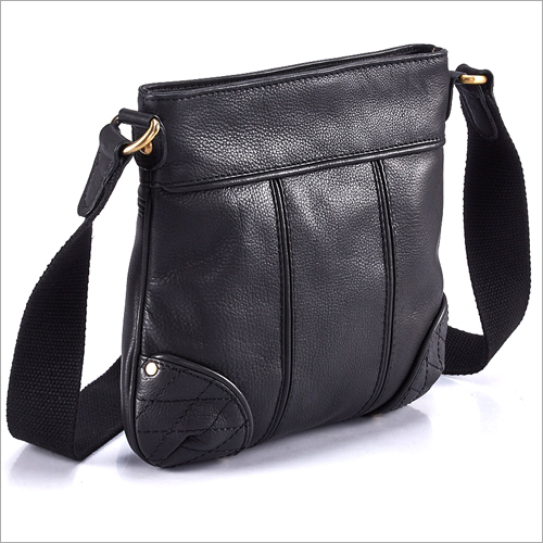 Ladies Black Leather Messenger Bag