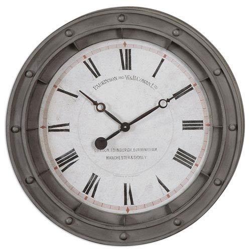 Round Gray Wall Clock