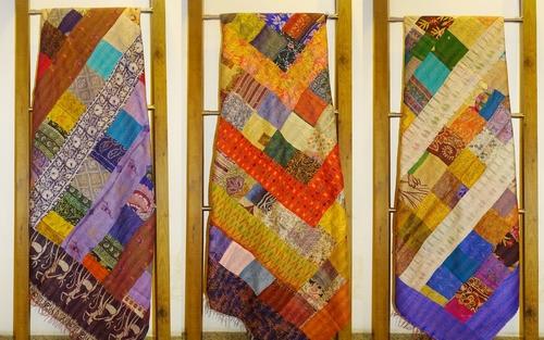 Vintage Silk Kantha Patch Bedsheet