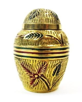 Brass Keepsake Urn Set (Red Flowers)