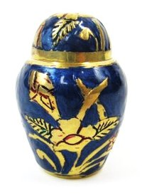 Brass Keepsake Blue Urn Set