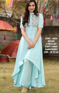 Rayon Kurti With Embroiderd Pant