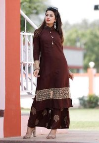 New Trendy Brown Kurti With Palazzo