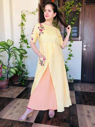 Yellow Kurti With Palazzo Set
