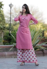 Cotton Pink Kurti With Palazzo Set