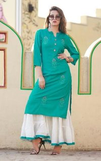 Green Kurti With White Palazzo