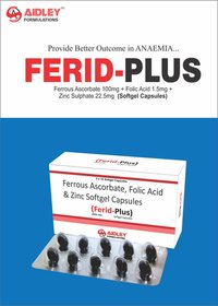 Ferrous Ascorbate 100mg + Folic Acid 1.5mg + Zinc Sulphate 22.5mg  (Softgel Capsules)