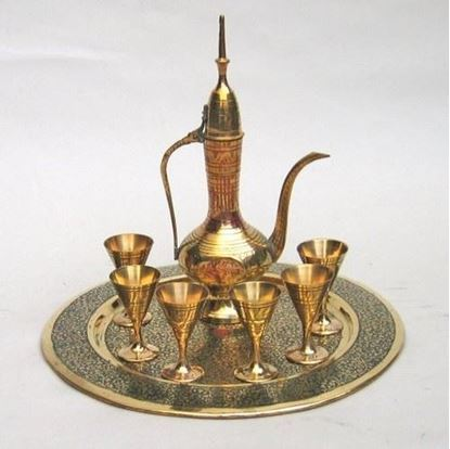 Etched Painted Brass Wine Set With Aftaba jugs