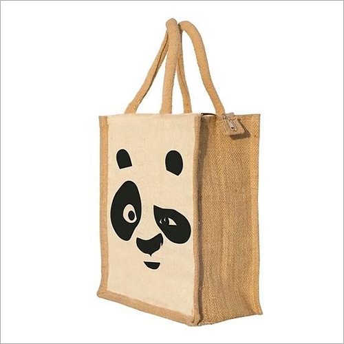 Panda Printed Jute Lunch Bag