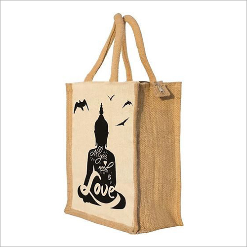 Budha Printed Jute Lunch Bag