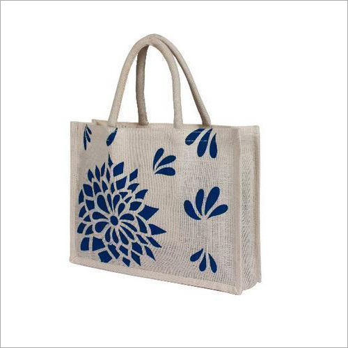 Flower Printed Jute Bag