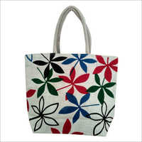Ladies Fancy Printed Jute Bag