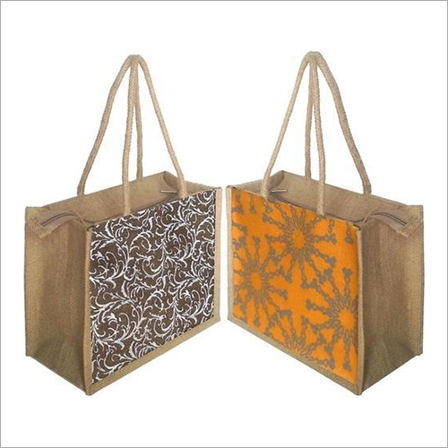 Floral Printed Jute Lunch Bag