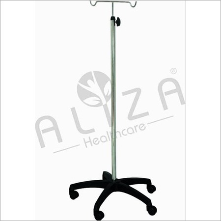 Plastic Base SS Pipe Saline Stand