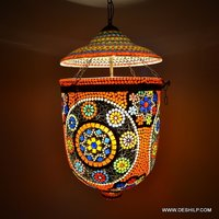 DECORATED GLASS WALL HANGING LIGHT