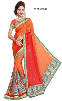 Embroidery Satin Saree