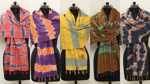 Tye Dye Cotton Kantha Allover Scarves