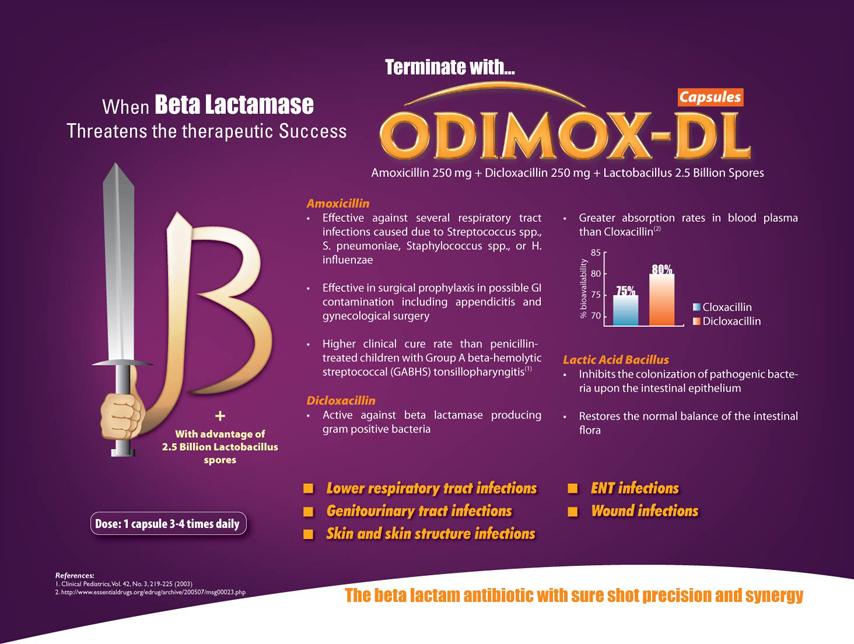 Amoxycillin 250 mg, Dicloxacillin 250 mg & Lactic Acid Bacillus 2.5 Million Spores Capsule